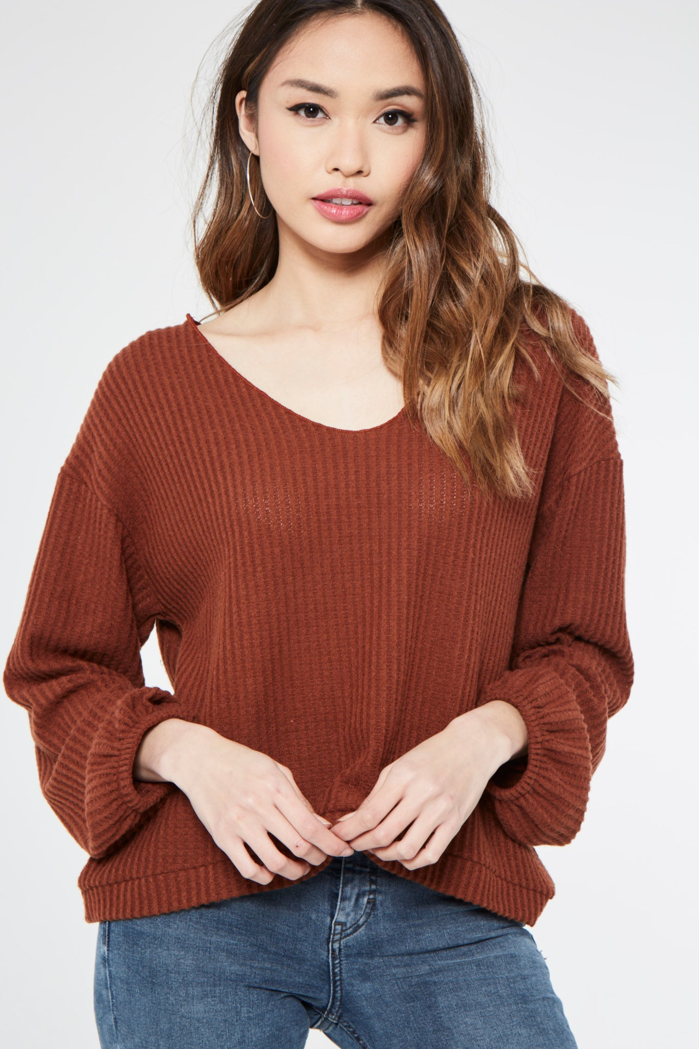 Project Social T Wide Neck Full Sleeve Cozy Top