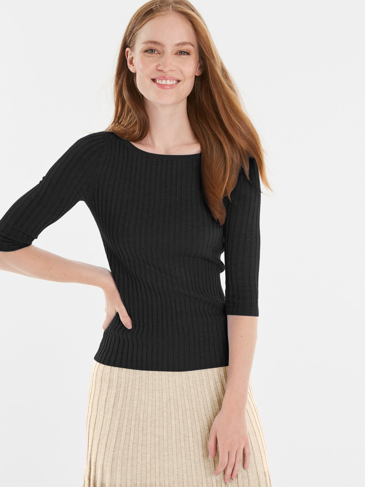 525 America Ribbed Knit Top- Black
