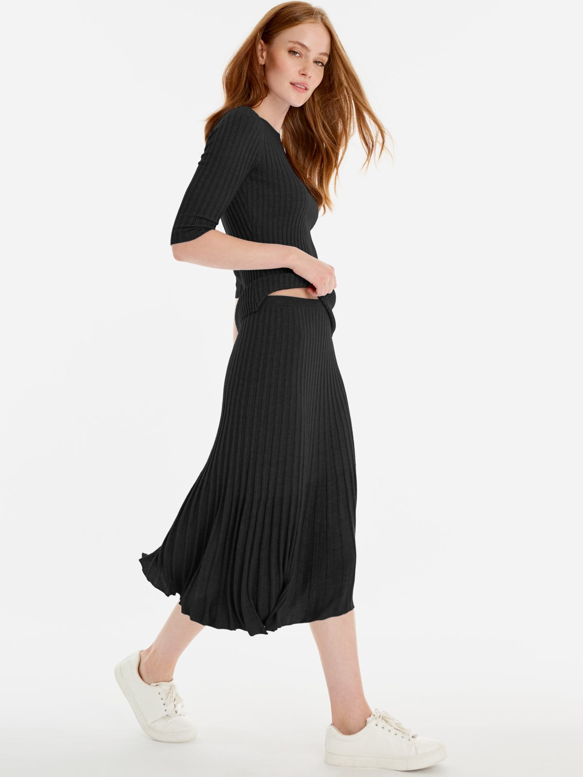 525 America Ribbed A-Line Skirt