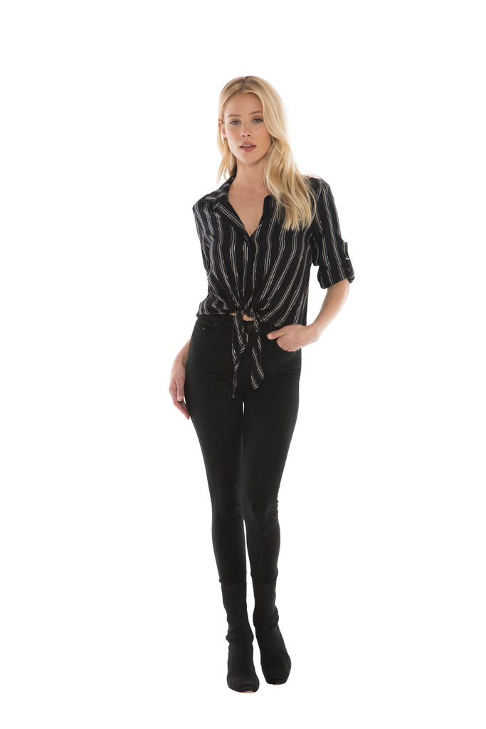 Bella Dahl Tie Front Button Down- Black
