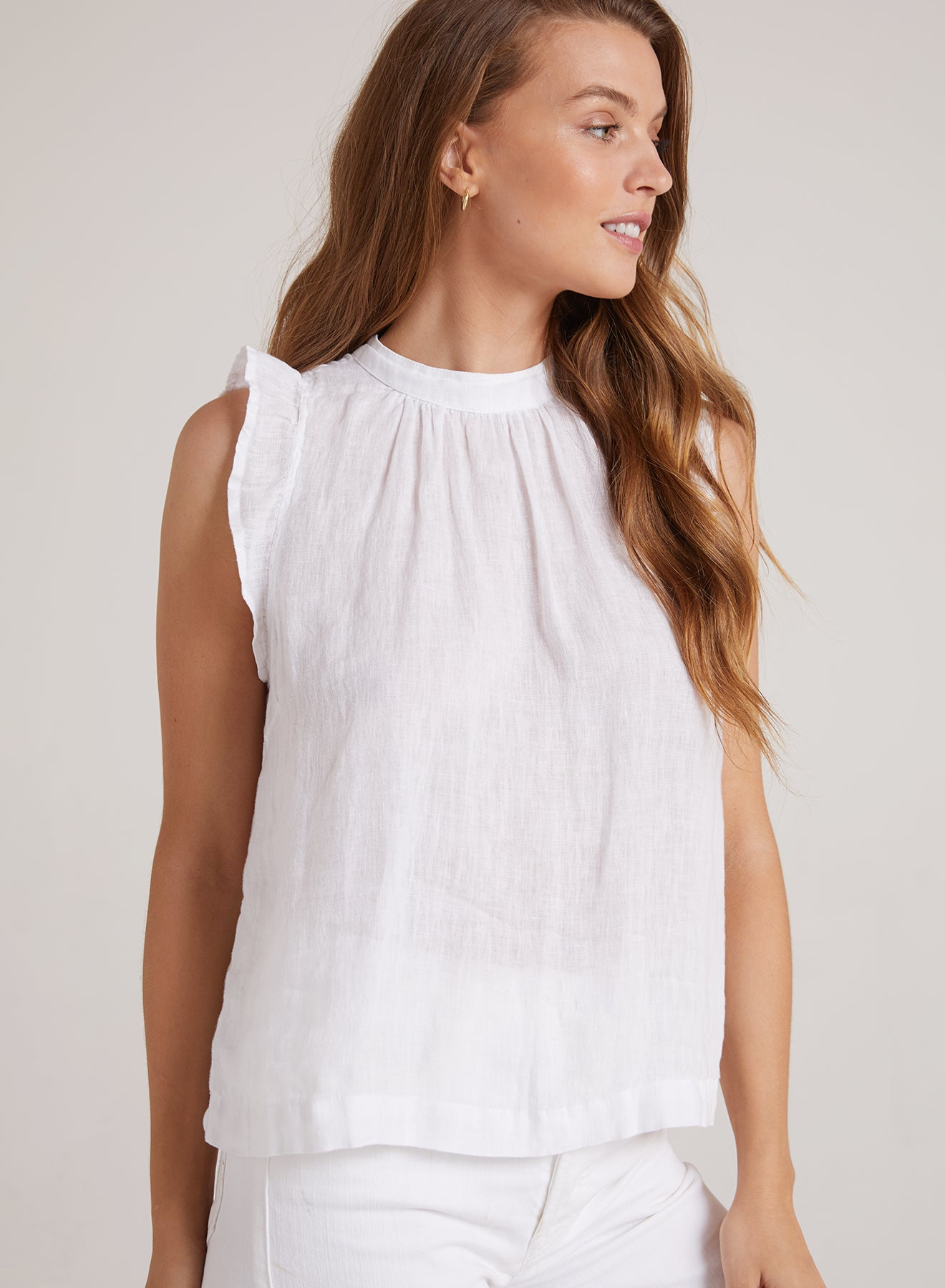 Bella Dahl Mock Neck Ruffle Top