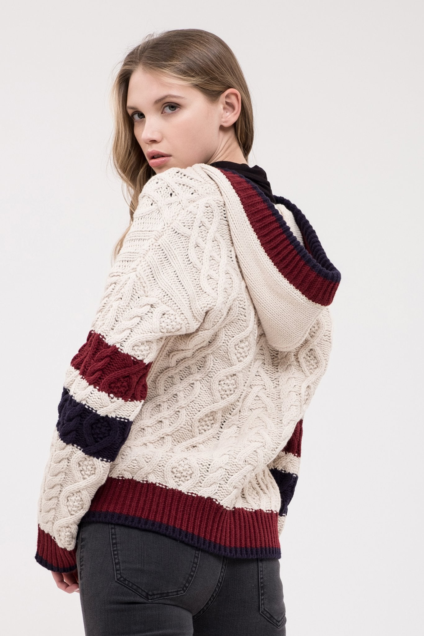 JOA Varsity Stripe Cable Knit Sweater