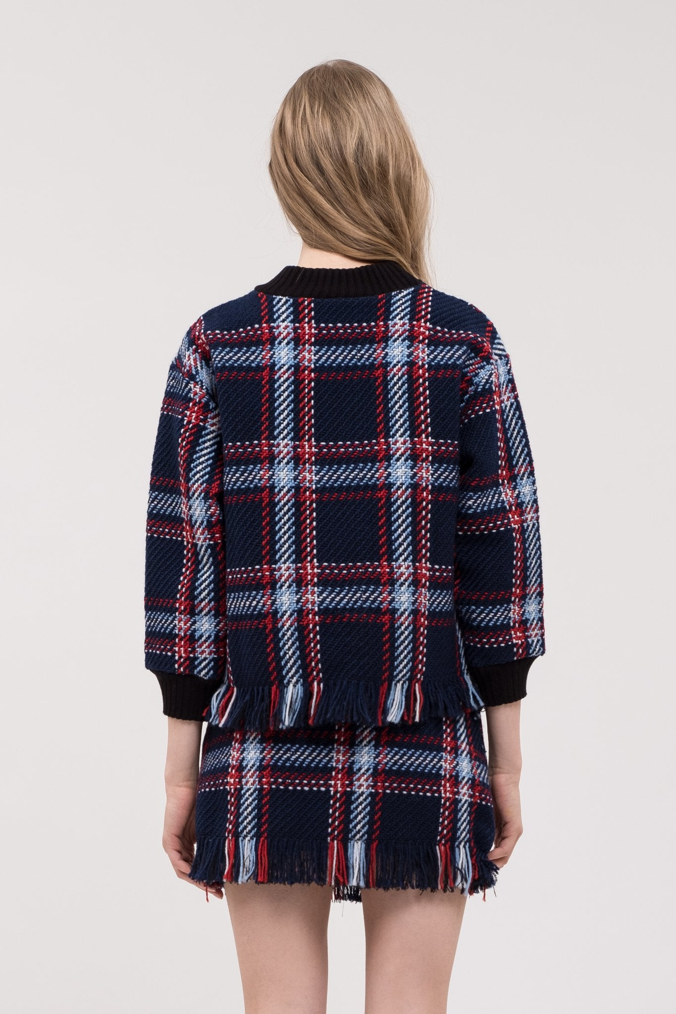 JOA Fringed Plaid Pullover