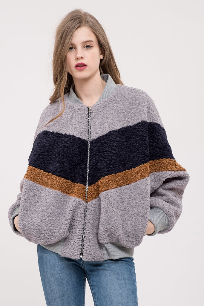 JOA Colorblock Teddy Fur Jacket (hide)