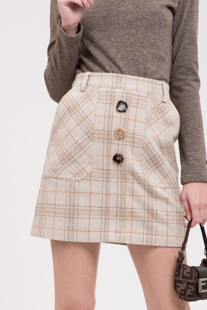 JOA Woven Check Button Front Mini Skirt
