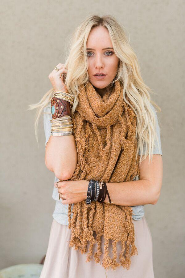Fall in Love Oversized Scarf- Rust