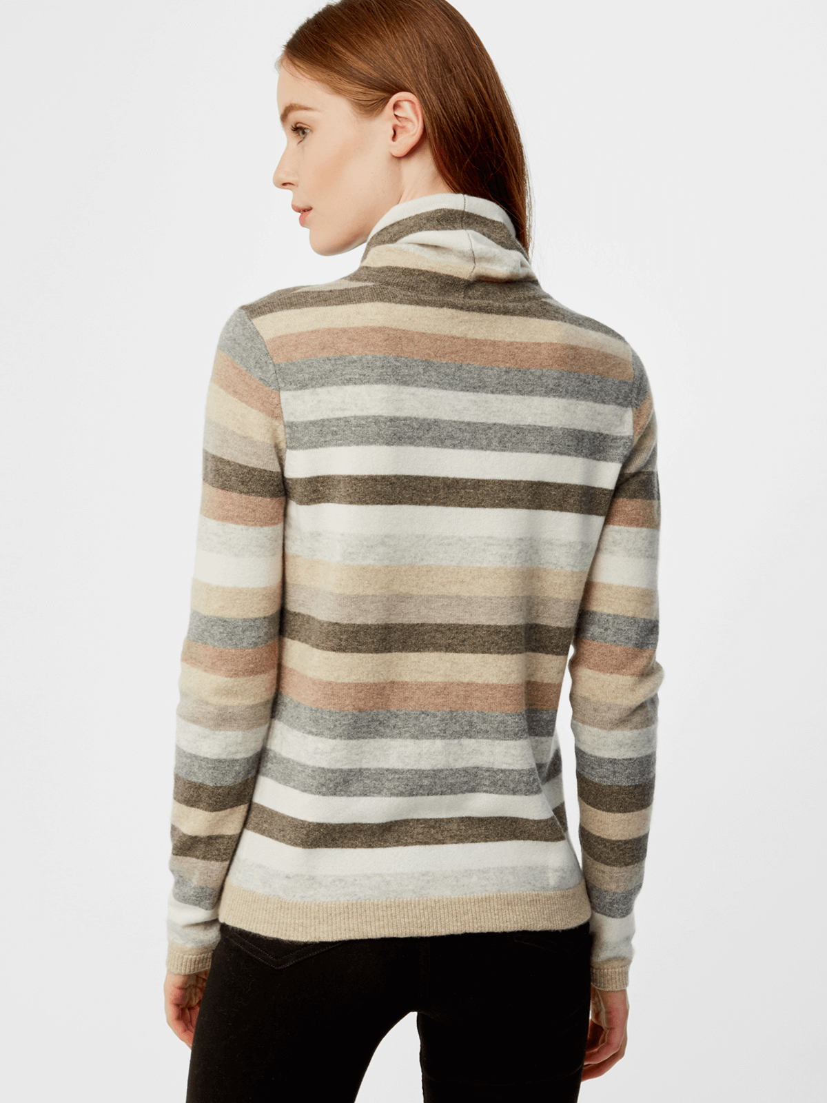 525 America Cashmere Striped Turtleneck Sweater