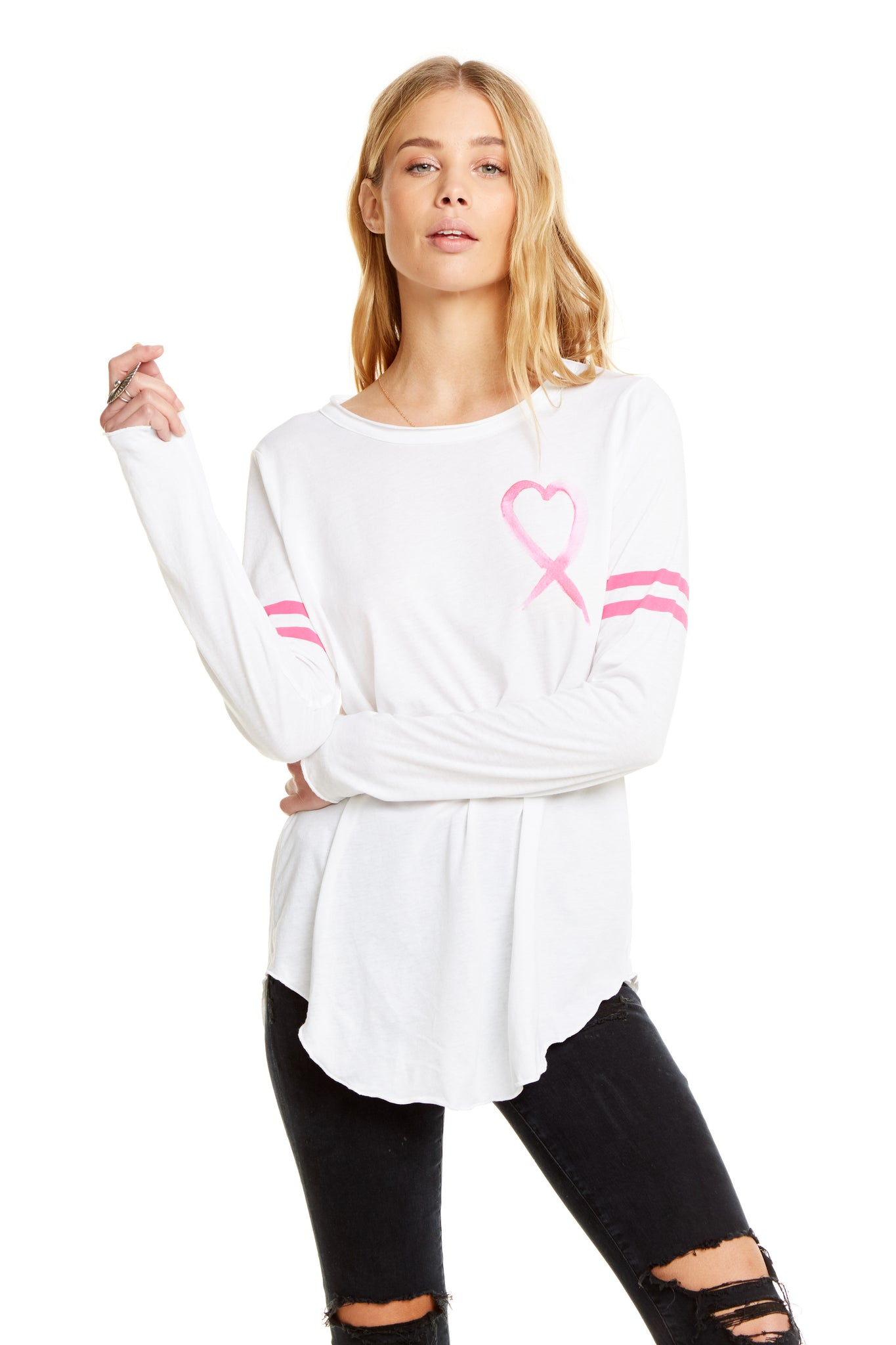 Chaser Breast Cancer Heart Ribbon Tee