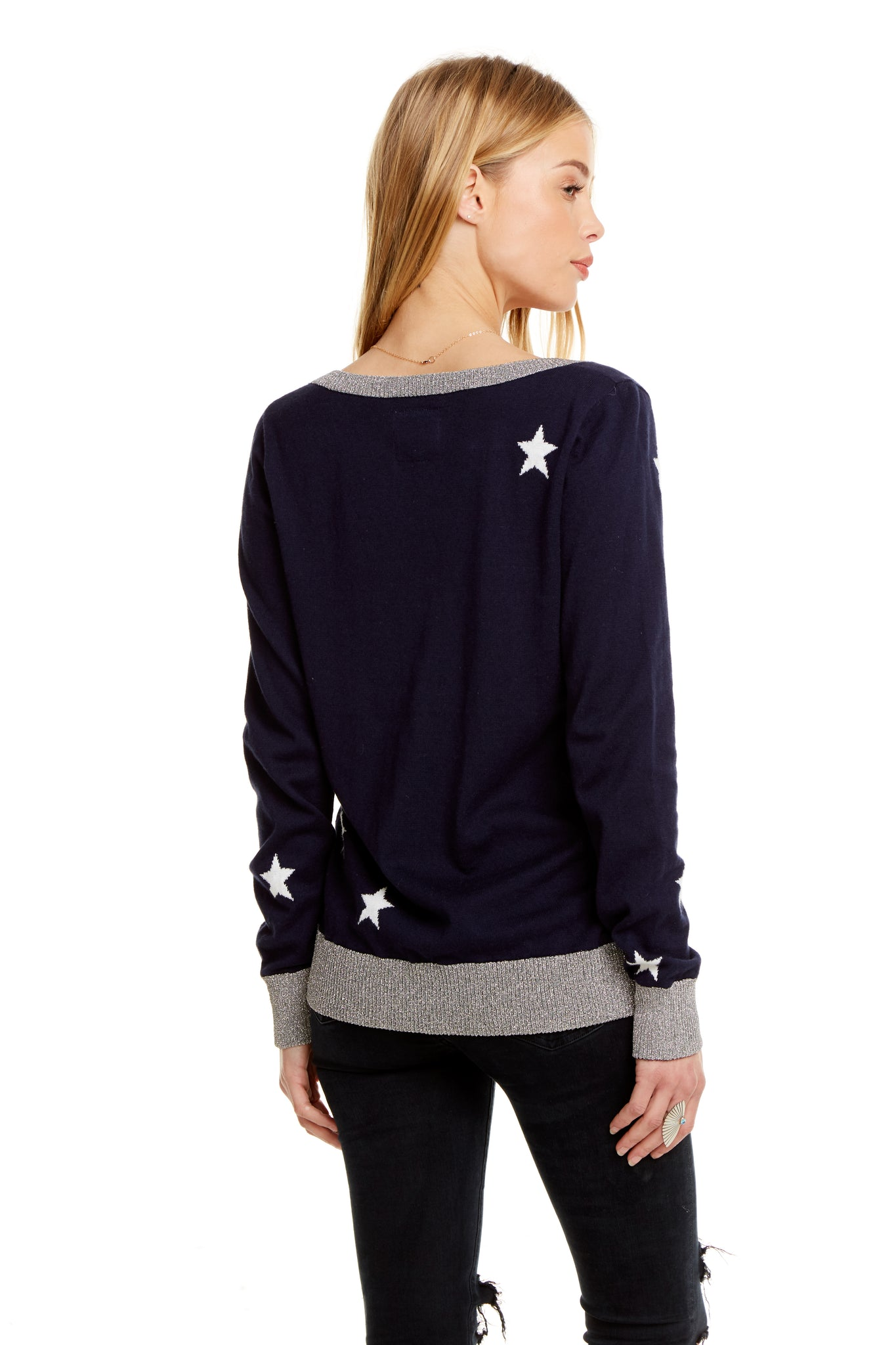 Chaser Starry Cotton Cashmere V Neck Pullover