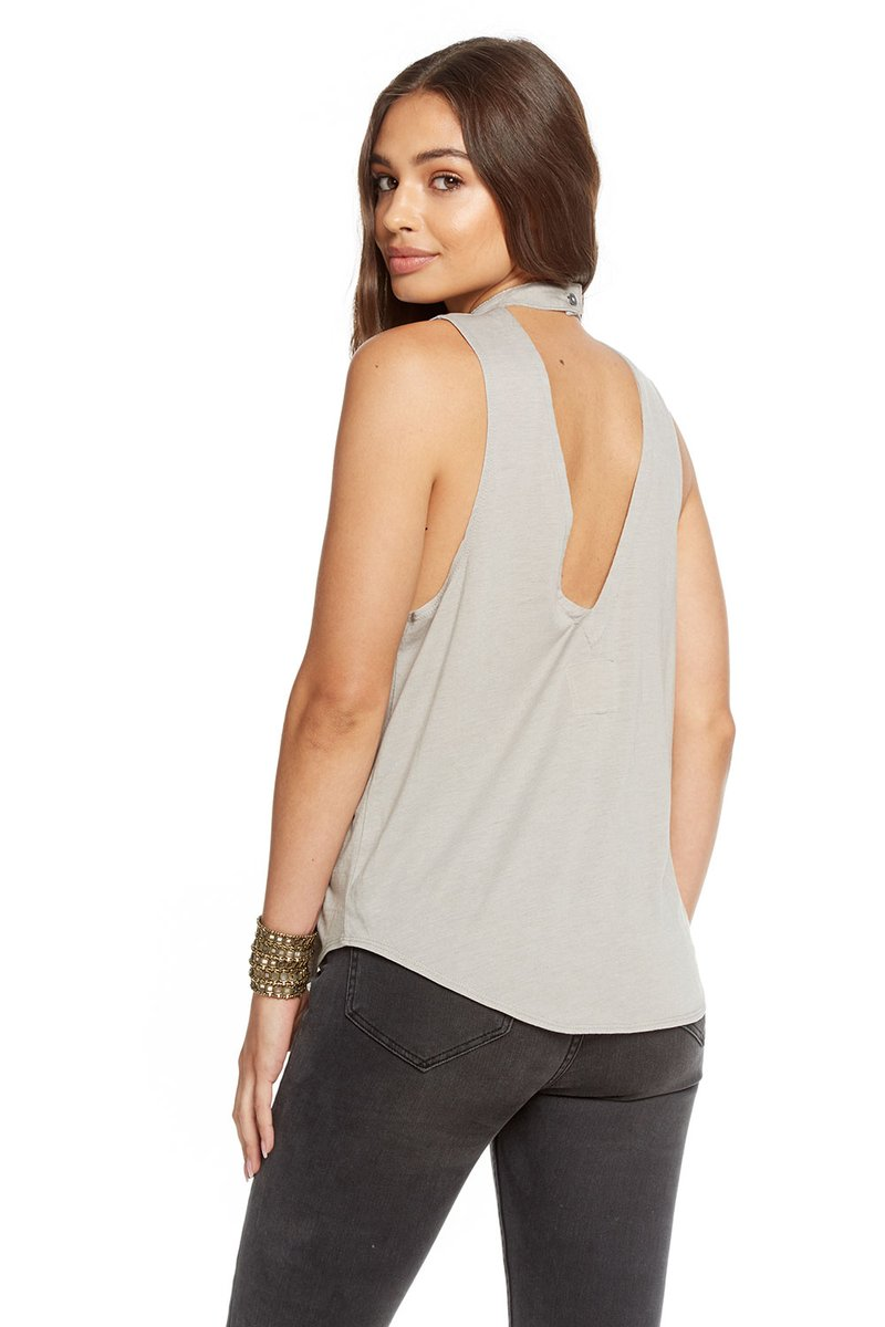 Chaser Vintage Jersey V-Back Mock Turtle Neck Shirttail Tank
