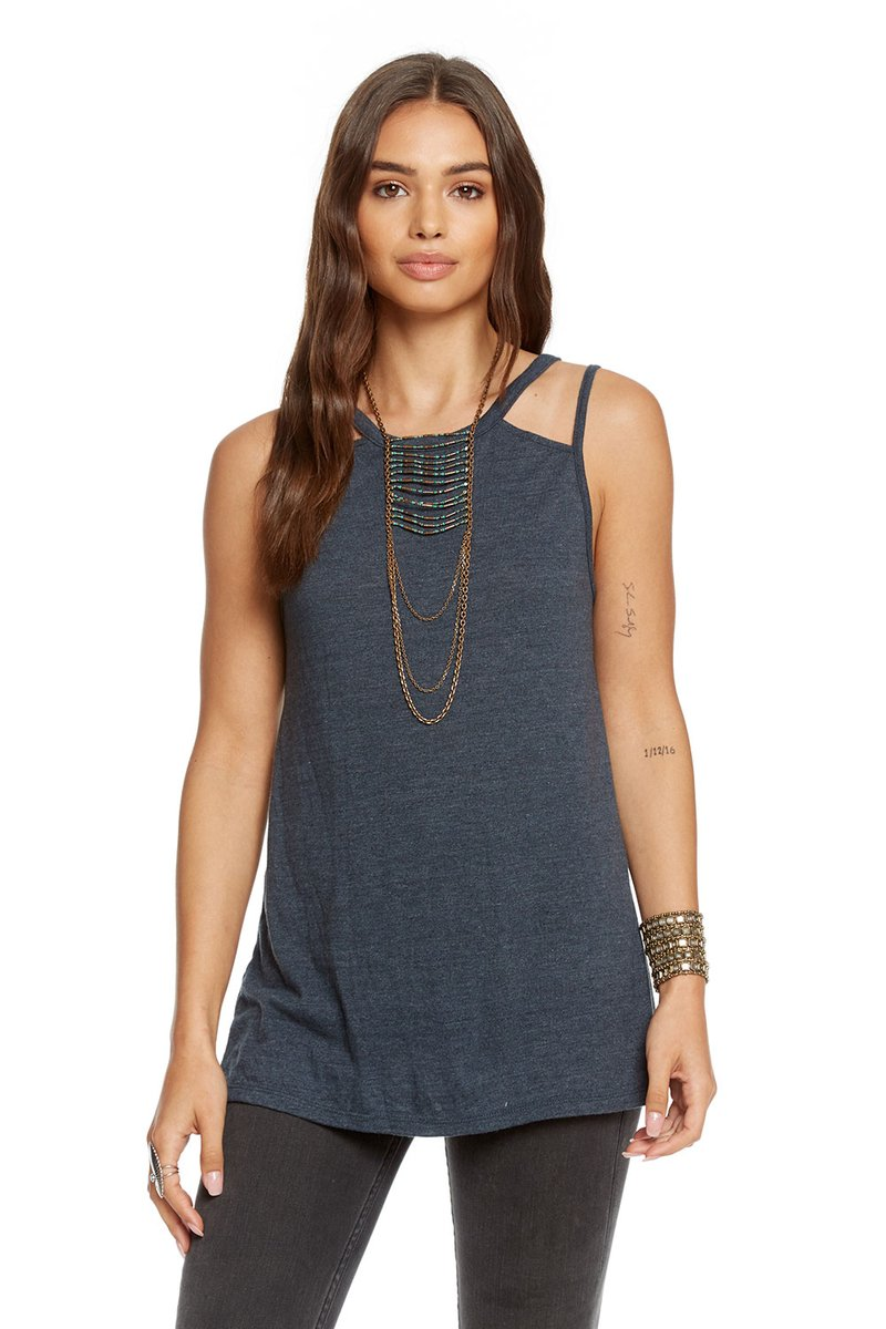 Chaser Vintage Triblend Strappy Back Cut-out Tank