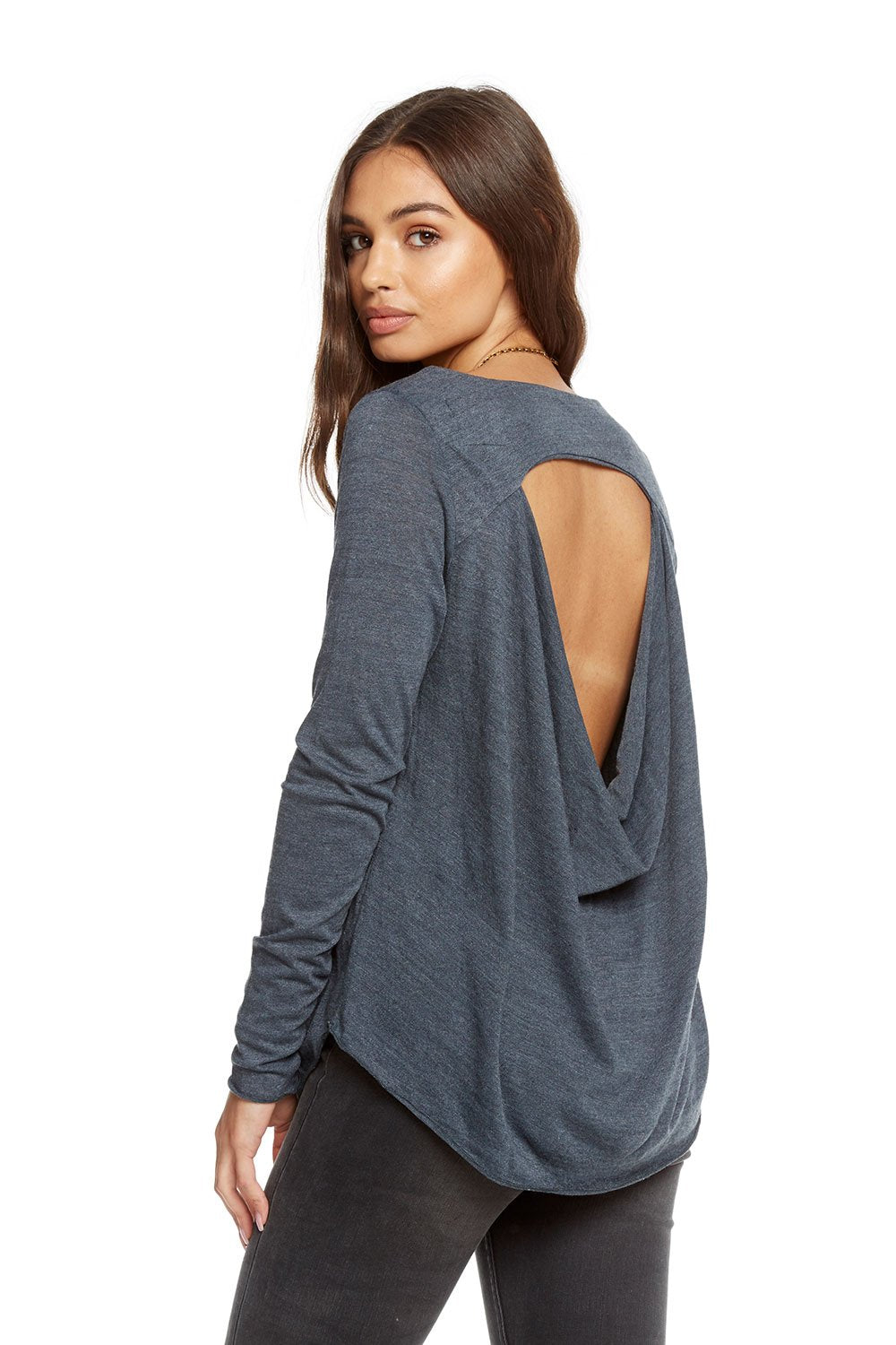 Chaser Vintage Triblend Front Vent Drape Back Shirttail Tee