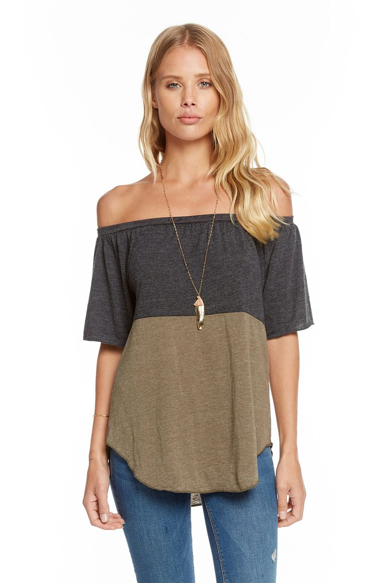 Chaser Blocked Jersey Off Shoulder Flutter Sleeve Shirttail Top