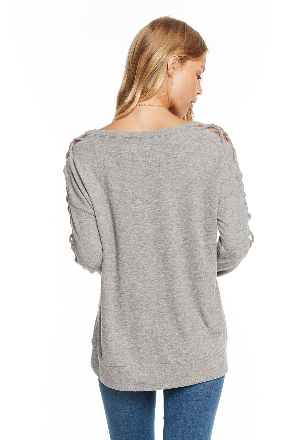 Chaser Love Knit Sleepwear Lace Up Dolman Drop Shoulder Pullover