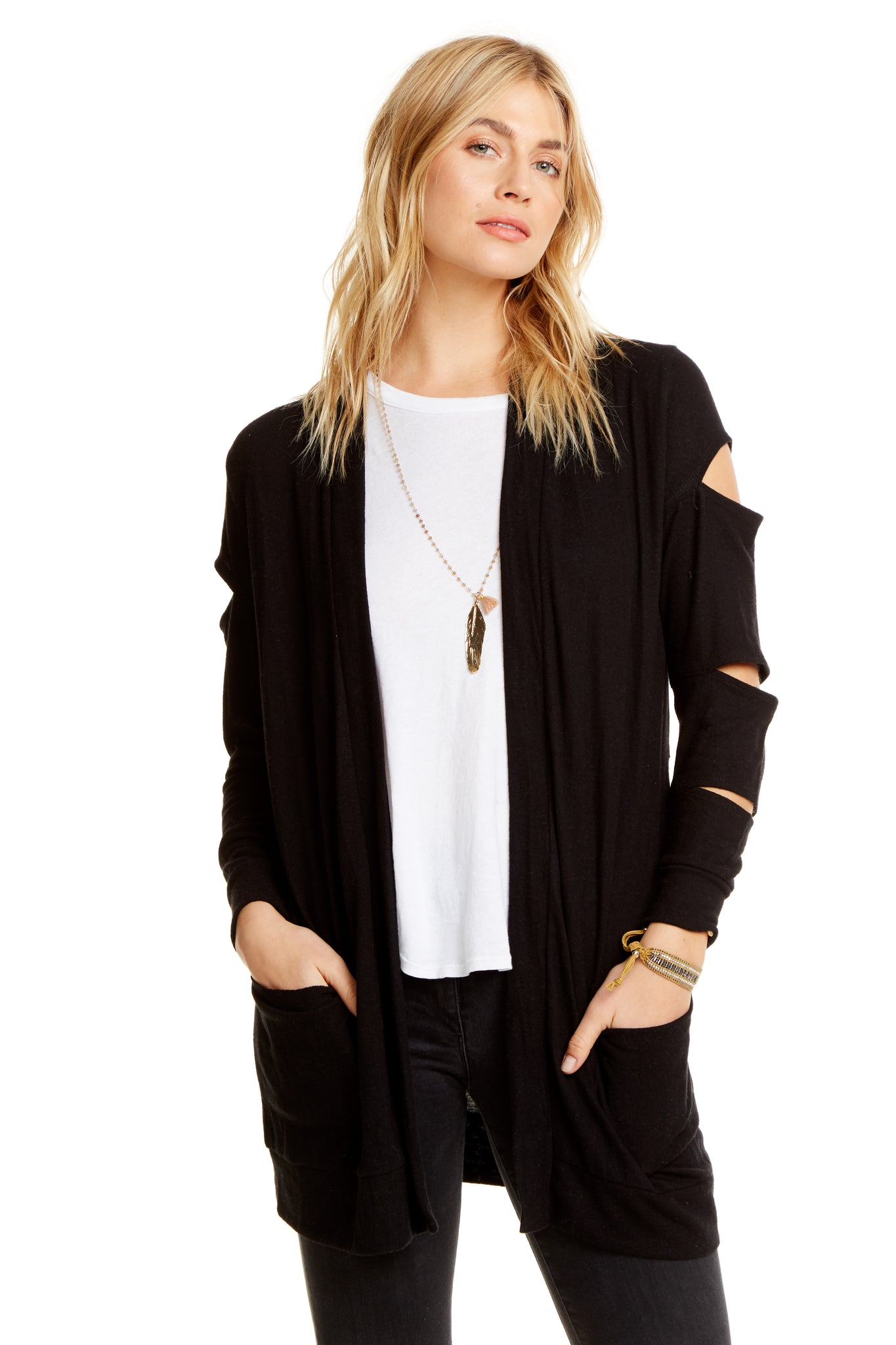 Chaser Love Knit Long Cardigan with Slits