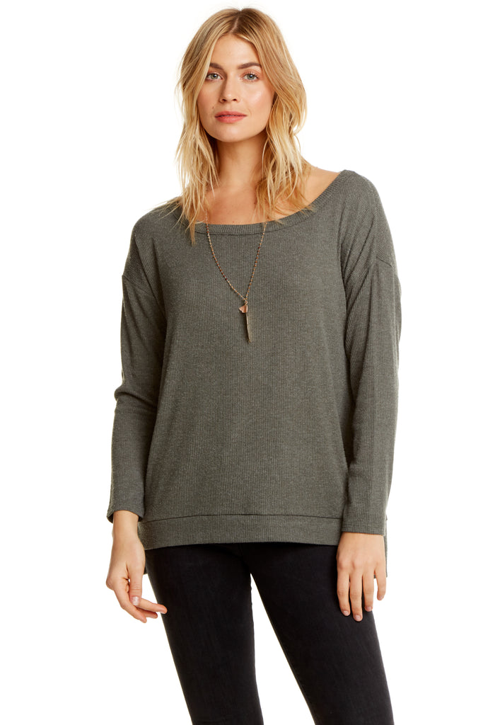 Chaser Love Rib L/S Drop Shoulder Split Side Pullover