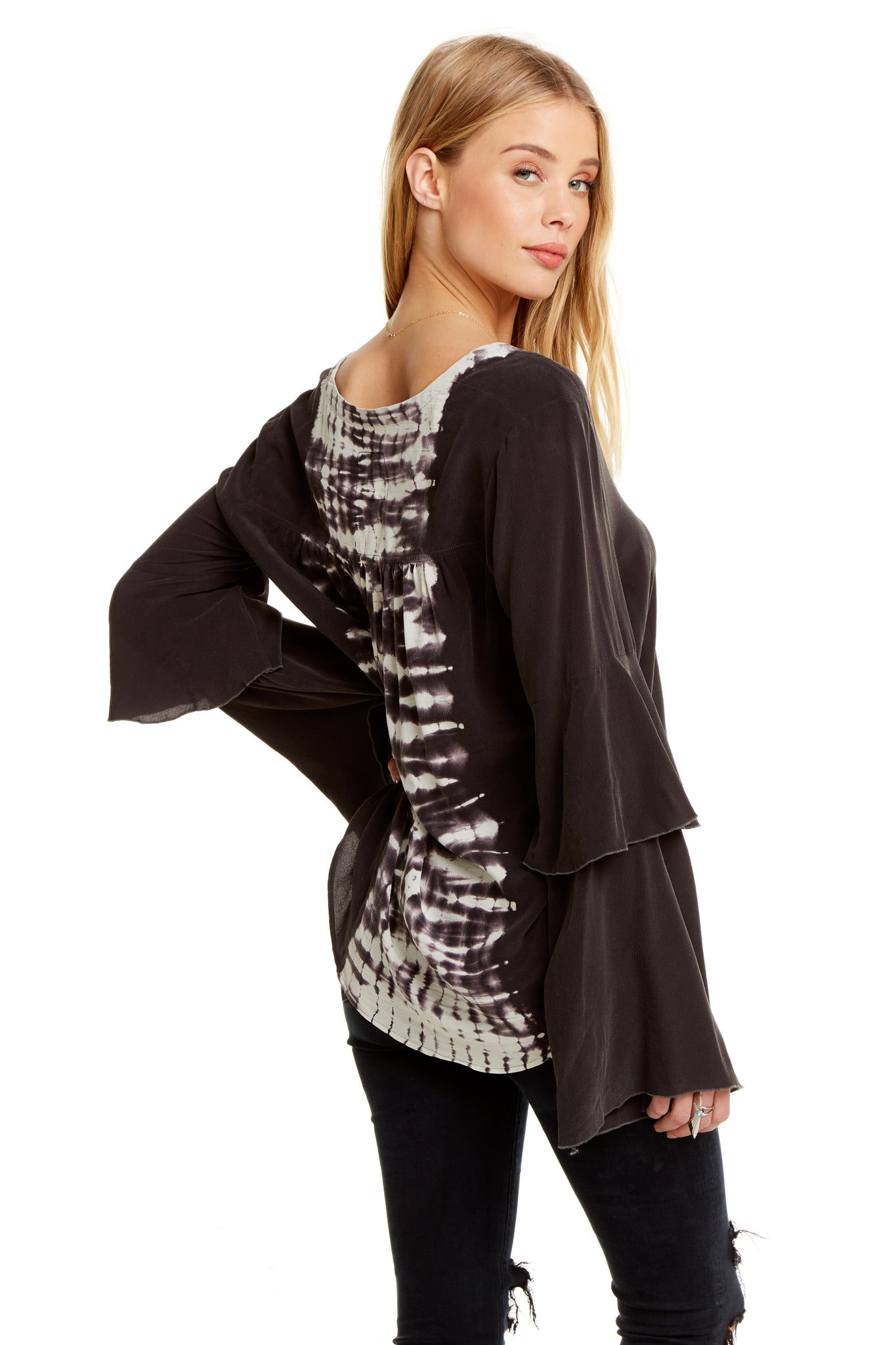 Chaser Silk Tiered Peplum Sleeve Button Up Shirt