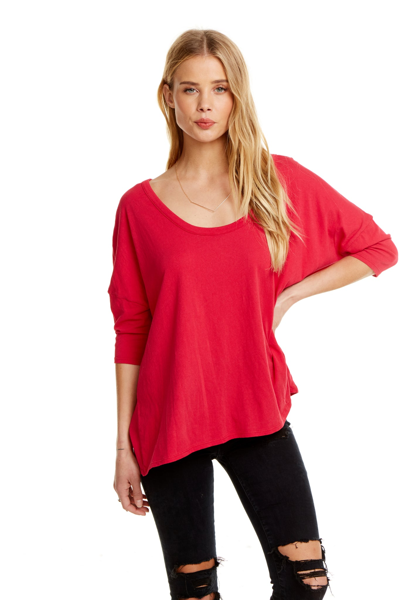 Chaser Cotton Basics Boxy Seamed Back Tee