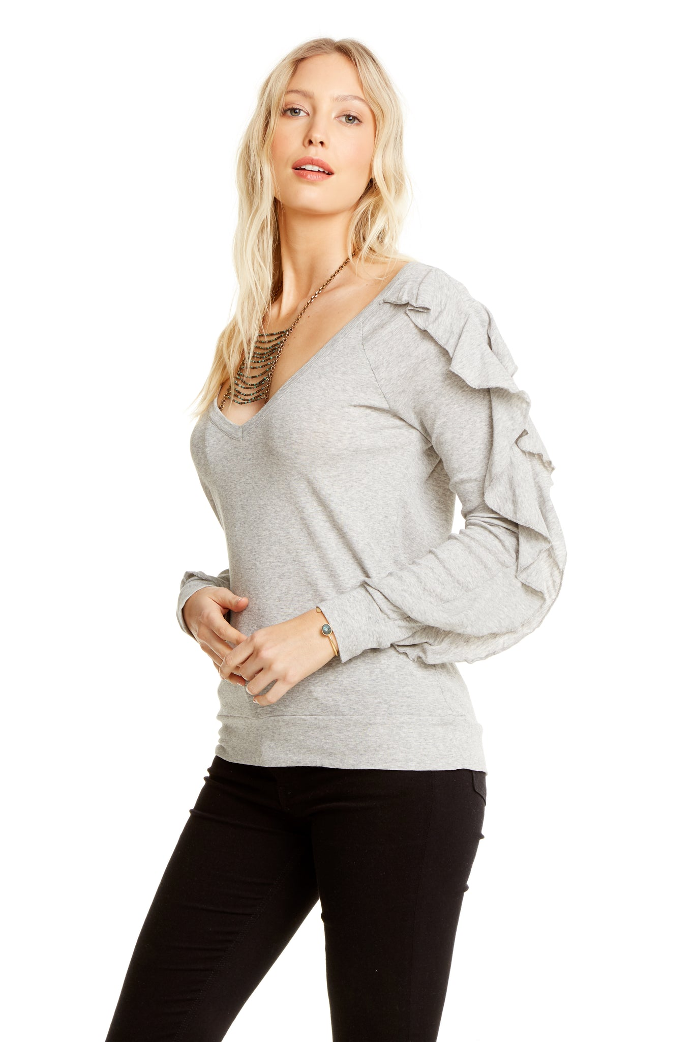 Chaser Baby Rib V Neck Ruffle L/S Pullover