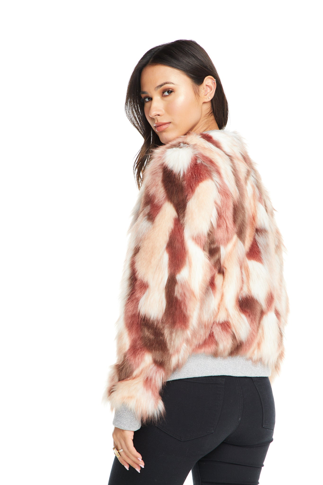 Chaser Pink Calico Faux Fur Bomber