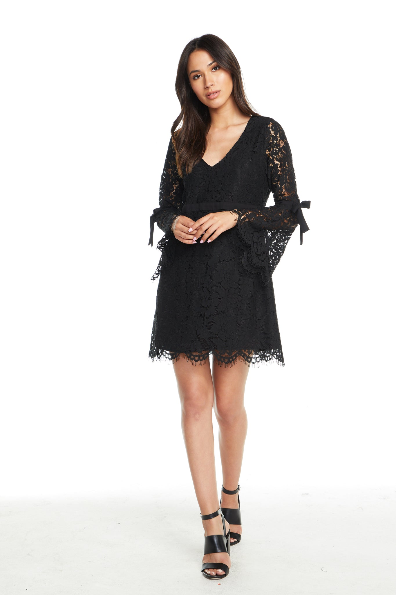 Chaser Lace V-Neck Bell Sleeve Dress