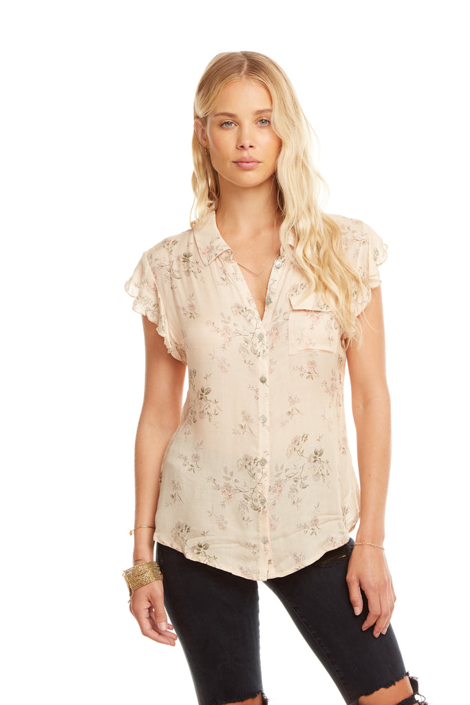 Chaser Gauze Flutter Sleeve Shirttail Top