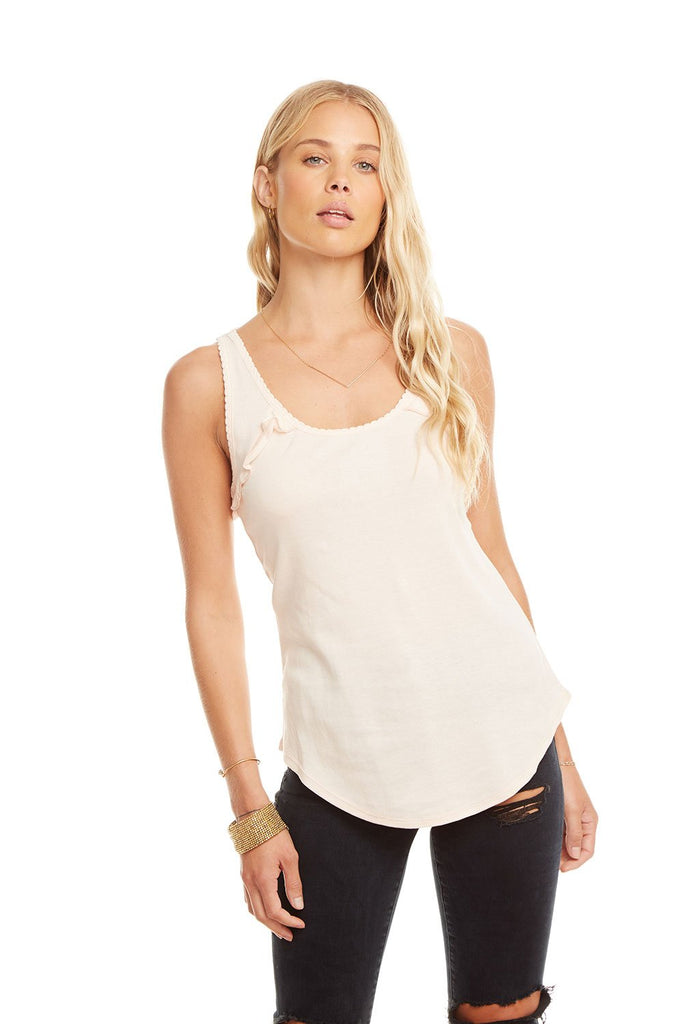Chaser Baby Rib Ruffle Racer Back Tank