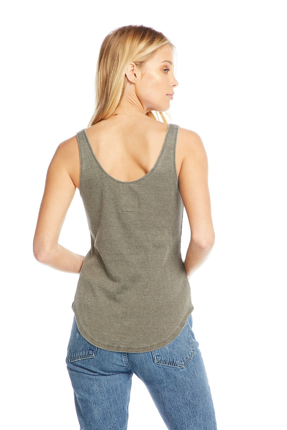Chaser Vintage Rib Slit V-Neck Scoop Back Tank