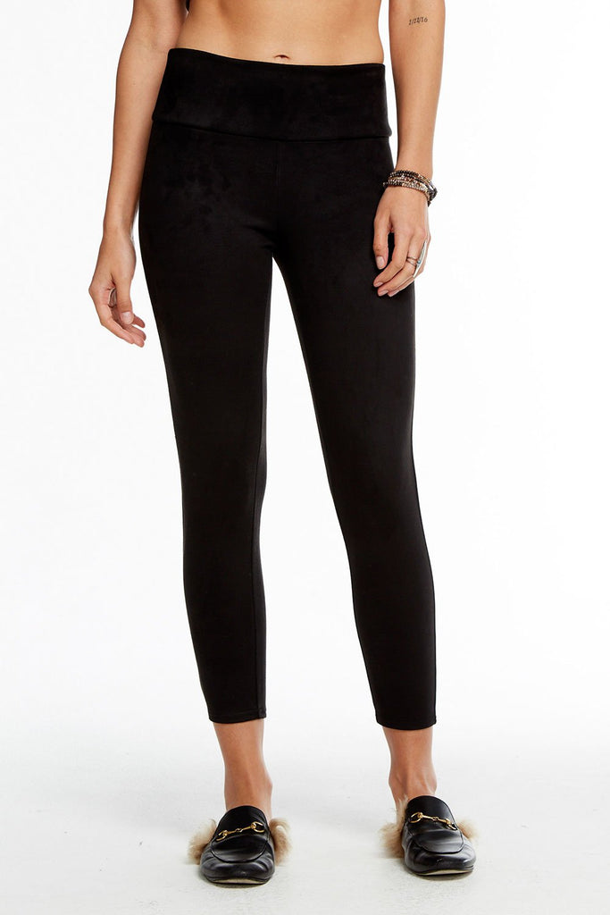 Chaser Faux Suede High Waist Legging (hide)