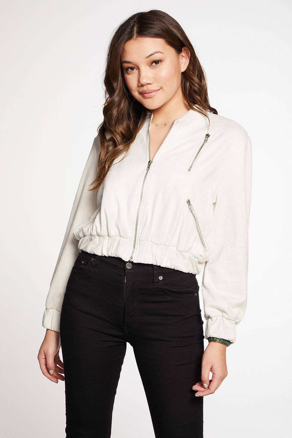 Chaser Stretch Faux Suede Cropped Bomber Jacket