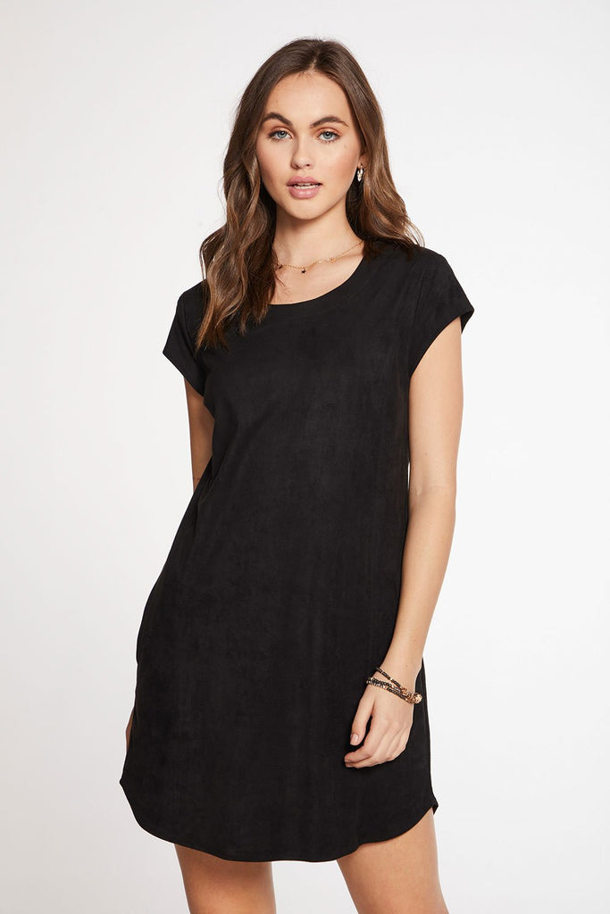 Chaser Stretch Faux Suede Cap Sleeve Shift Dress (hide)