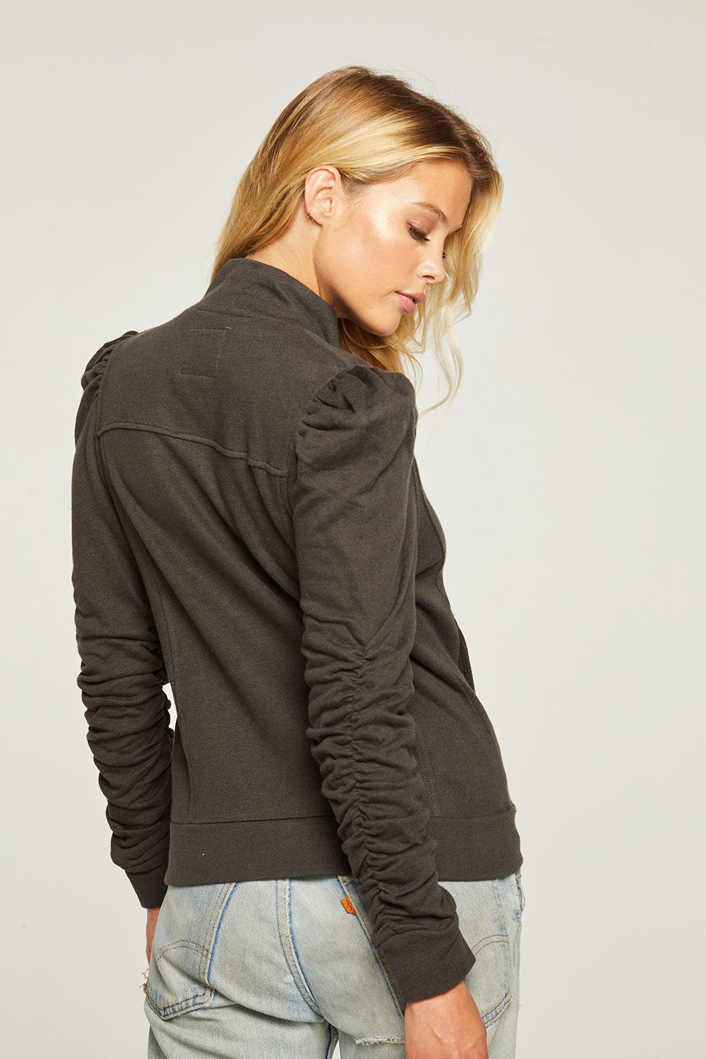 Chaser Linen French Puff Slv Zip Jacket