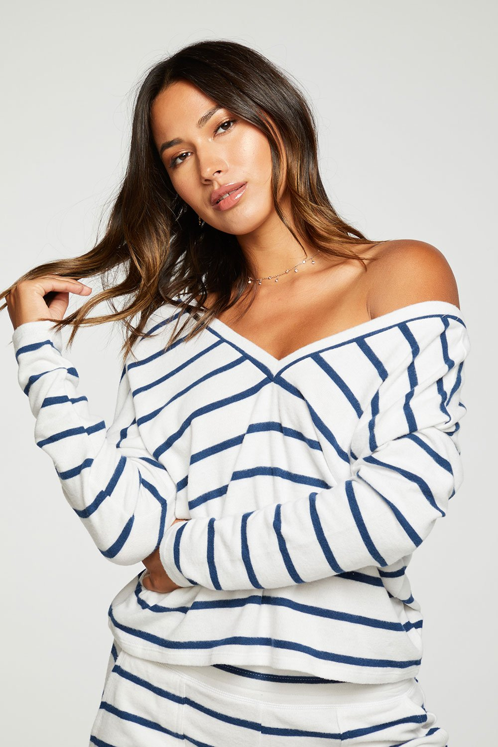 Chaser Bliss Knit Long Sleeve Double V Pullover