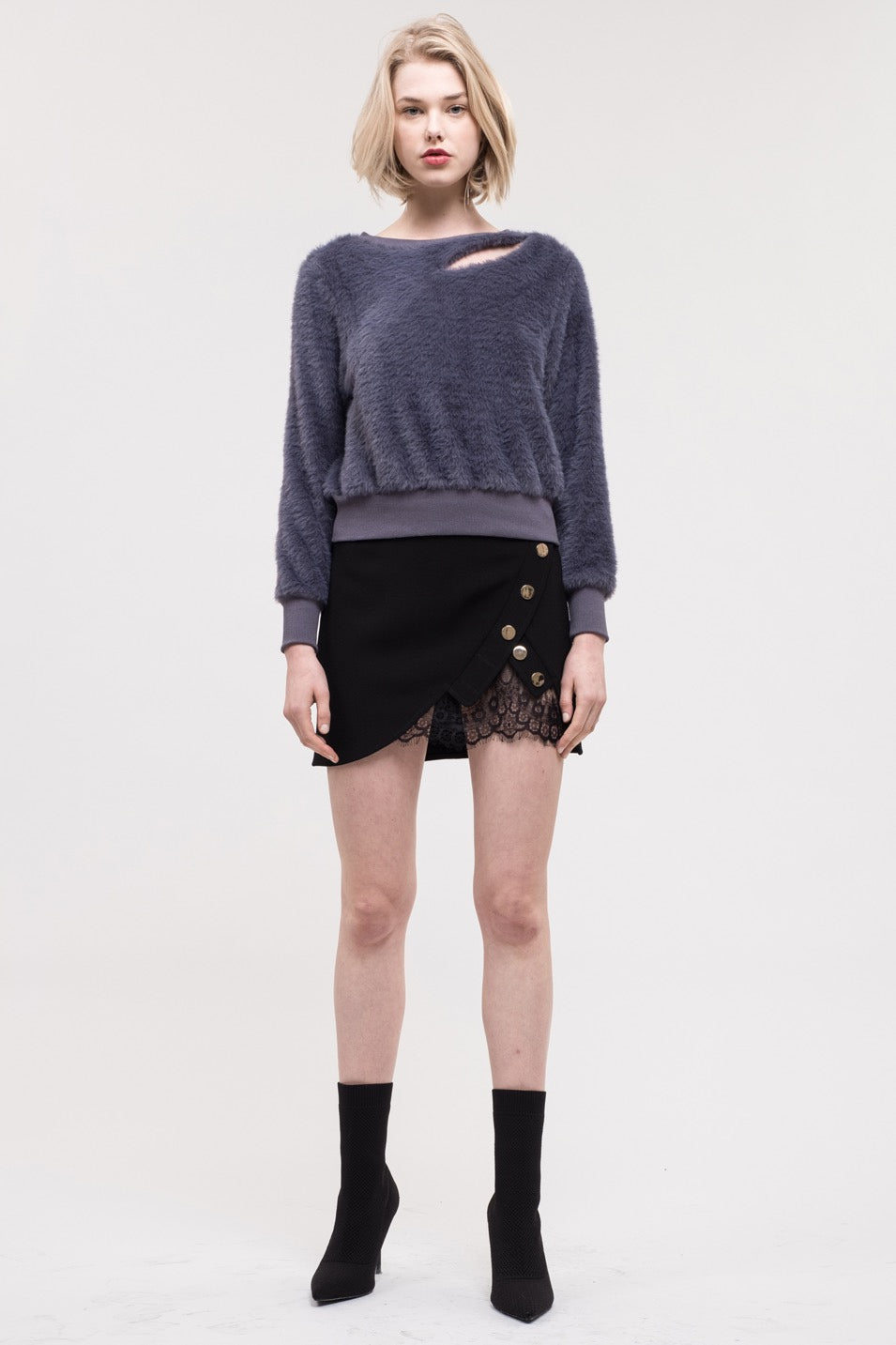 JOA Cut-Out Faux Fur Sweatshirt