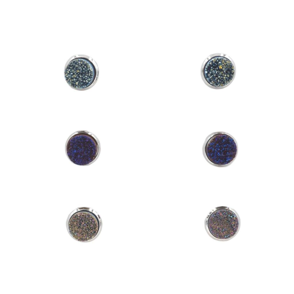 Kinsley Armelle Silver Cosmic Quartz Earrings Set