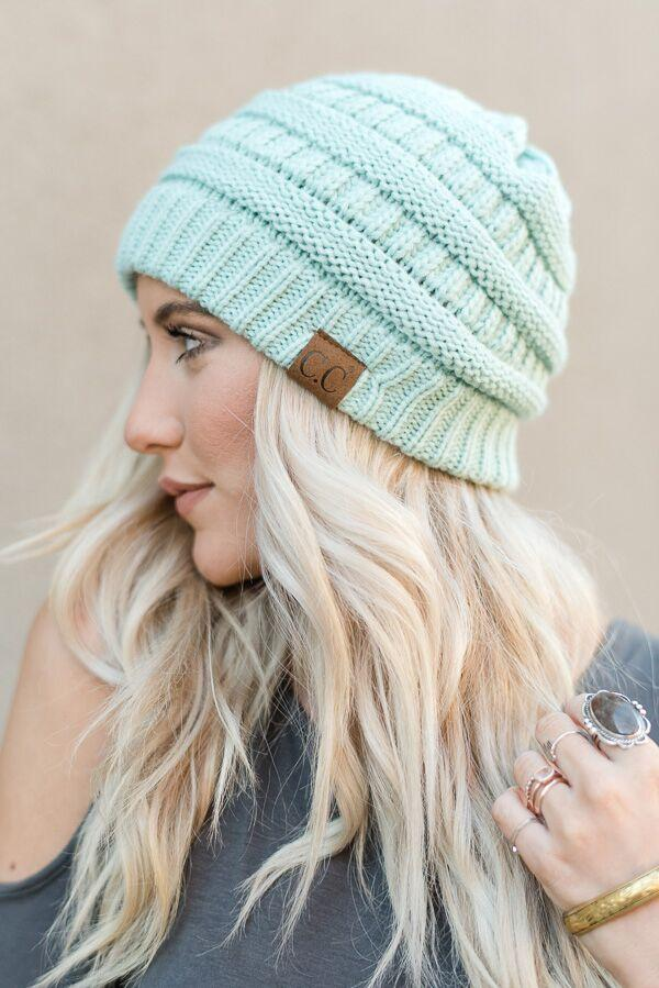 Knitted Pull On Beanie- Mint