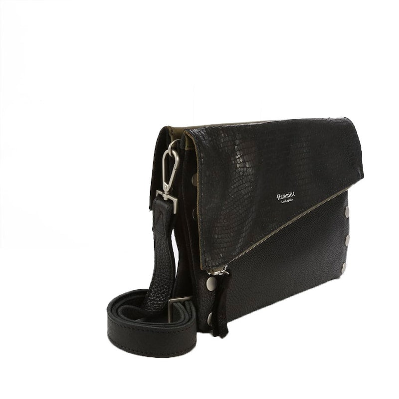 Hammitt Dillon Moss Space Black Brushed Silver Cross Body