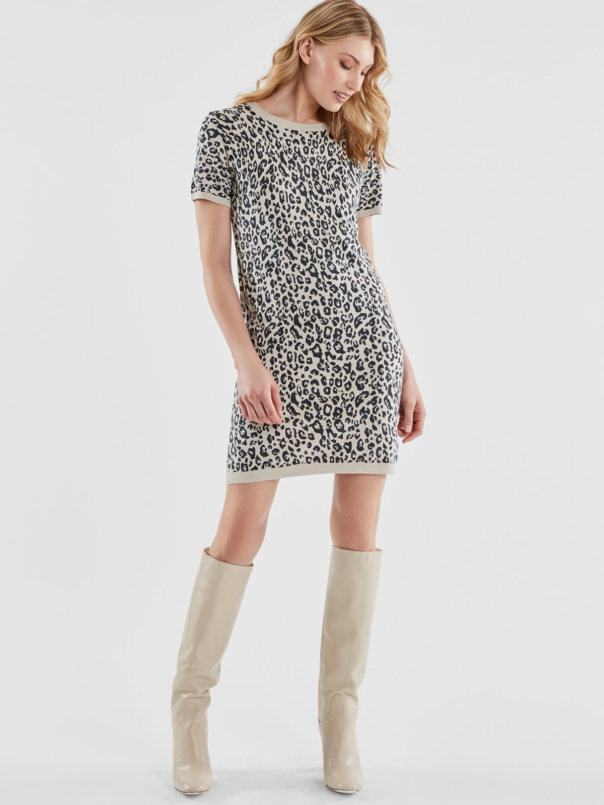 525 America Leopard Print Knit Dress