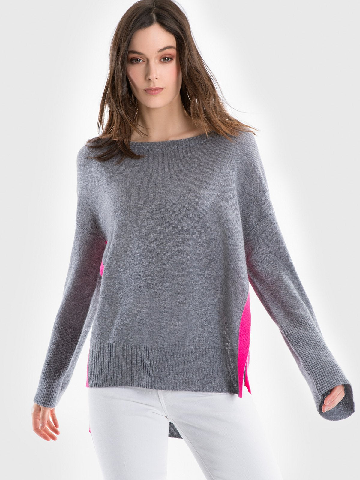 525 America Cashmere Side Slit Sweater Tunic