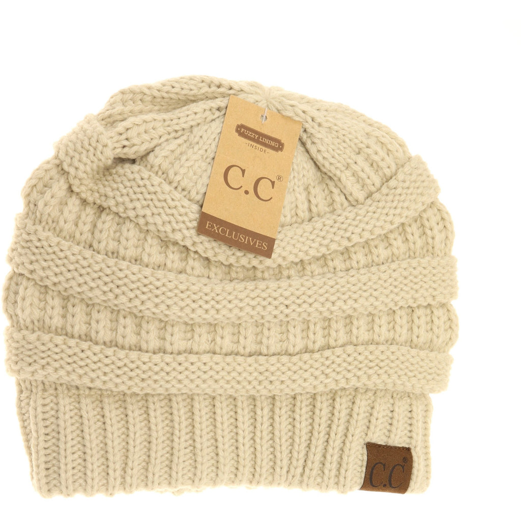 CC Knitted Pull On Beanie- Beige