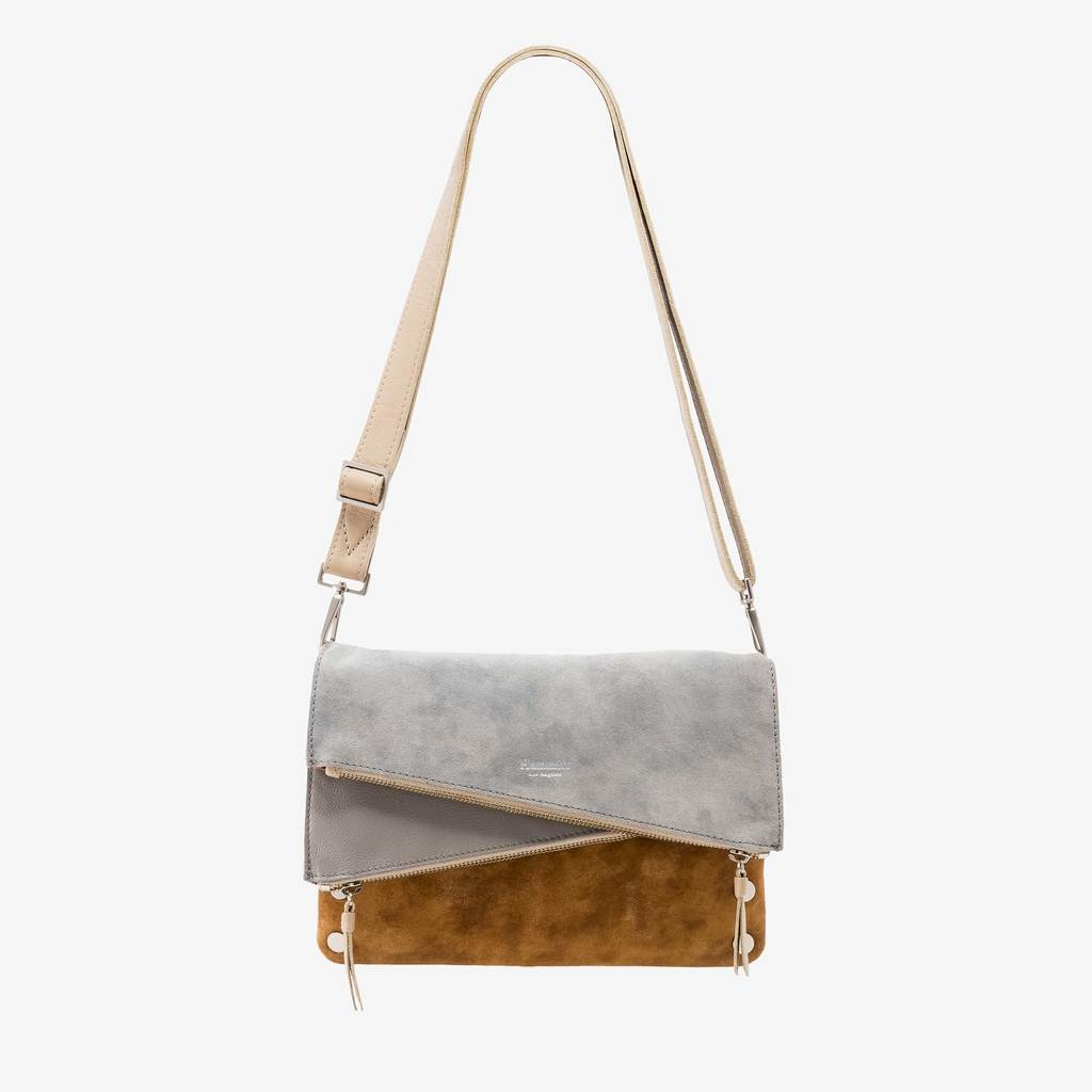 Hammitt Dillon Mist Buffed/Pebled Brushed Silver Cross Body (hide)