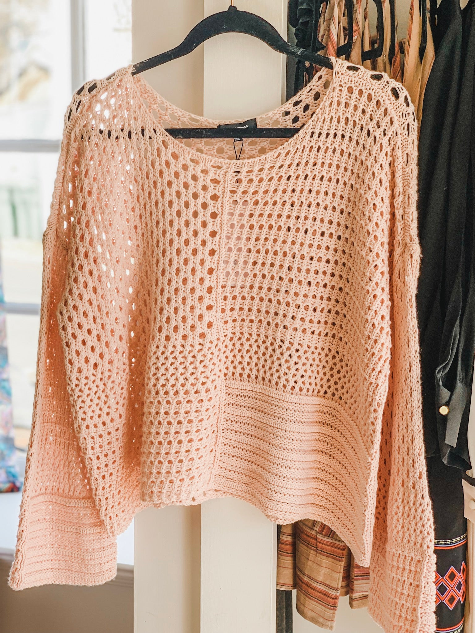 525 America Becky Cotton Open Knit Sweater