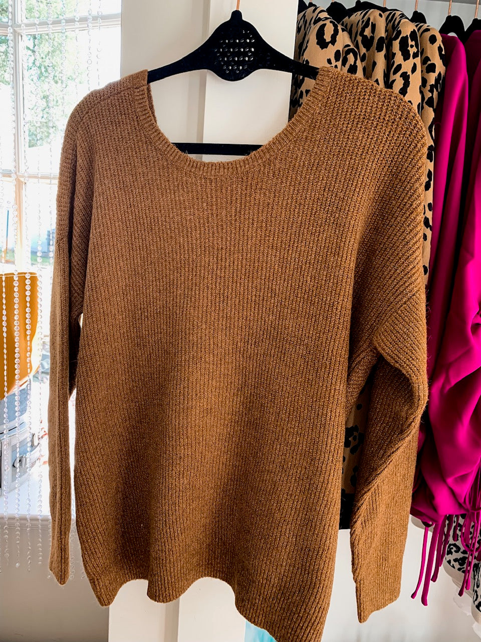 Olive & Oak Back Cross Sweater