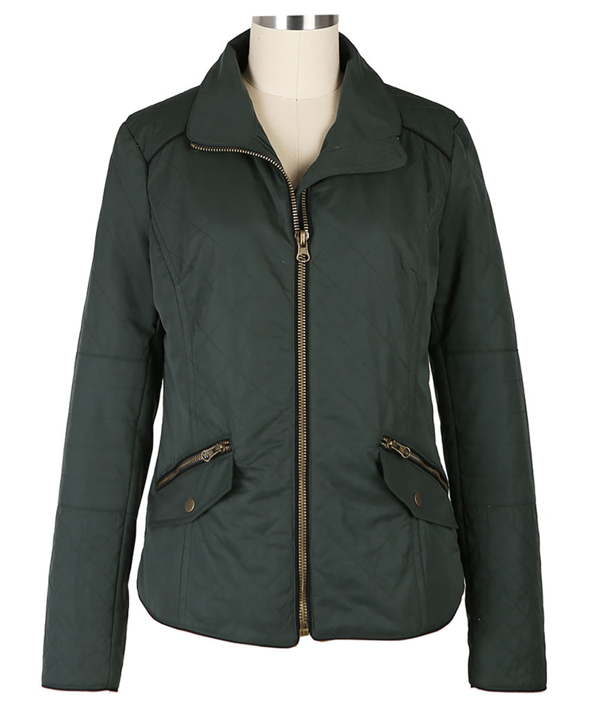 KUT Quilted Zip Front Jacket- Forest Green