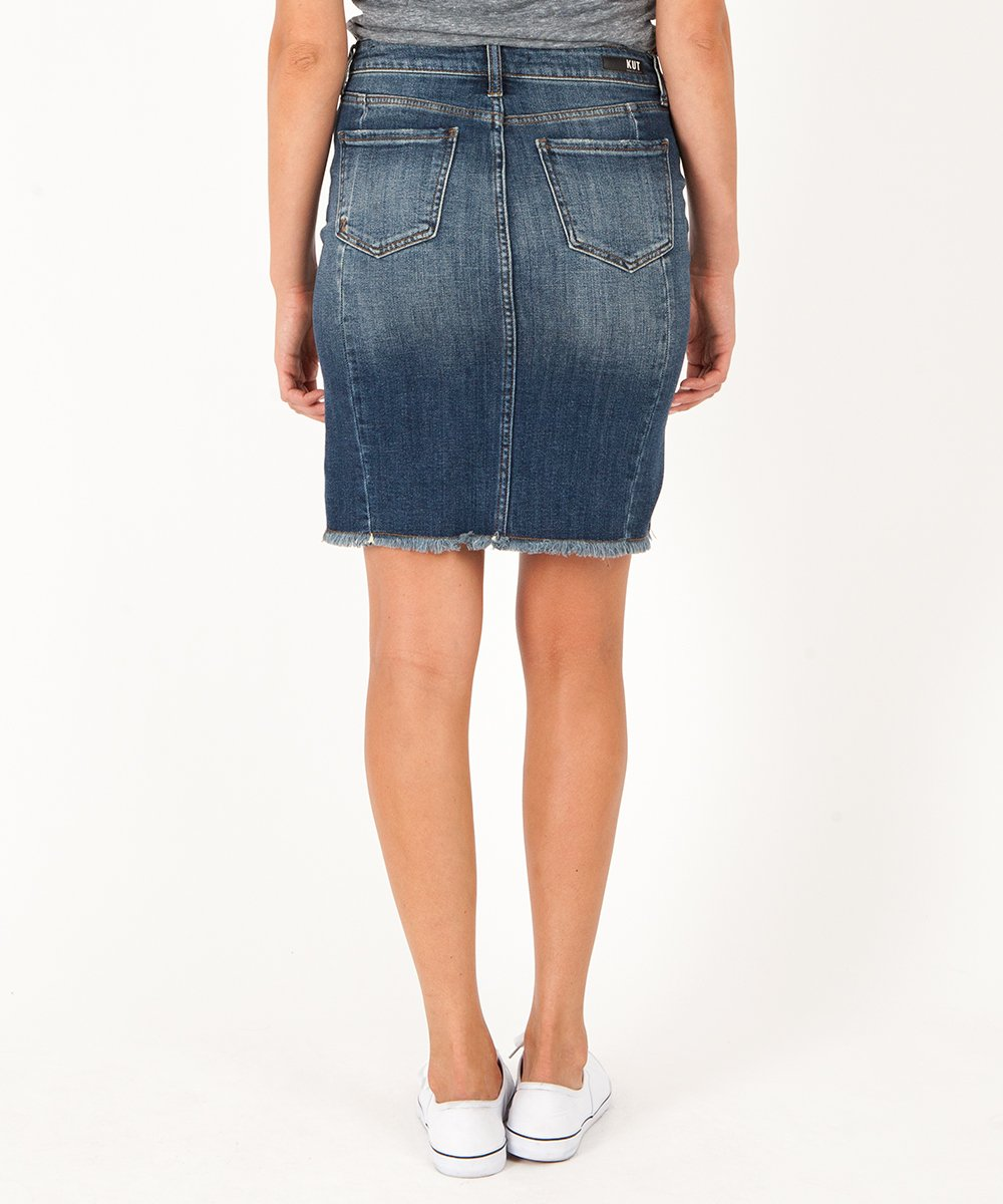 KUT Connie Hi-Low Fray Hem Denim Skirt