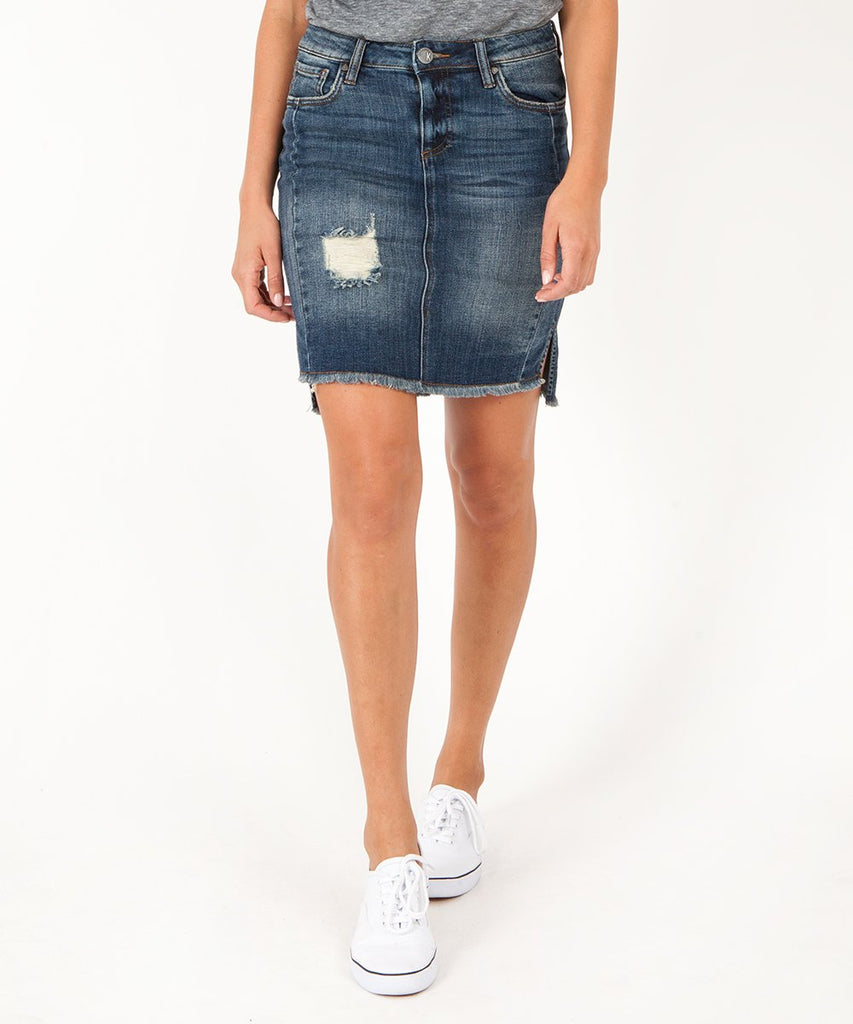KUT Connie Hi-Low Fray Hem Denim Skirt (hide)