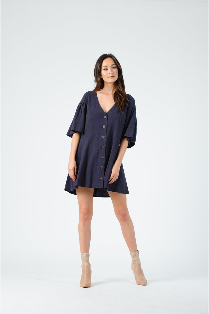 Lucca Dawn Flutter Sleeve Button Front Mini Dress (hide)