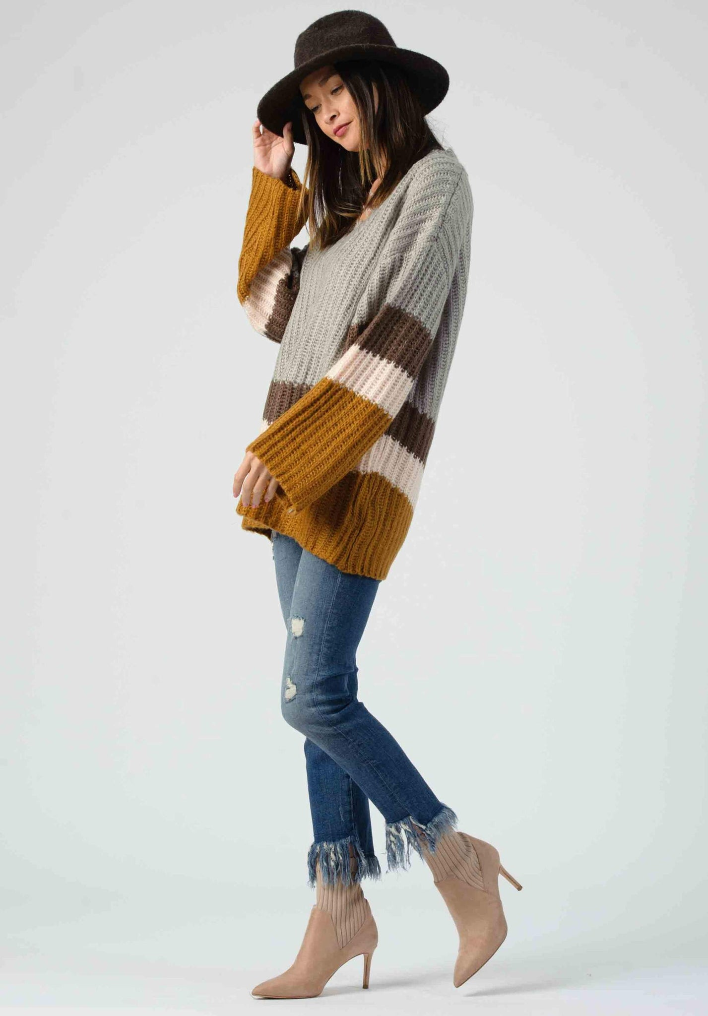 Lucca Wide Sleeve Colorblock Sweater