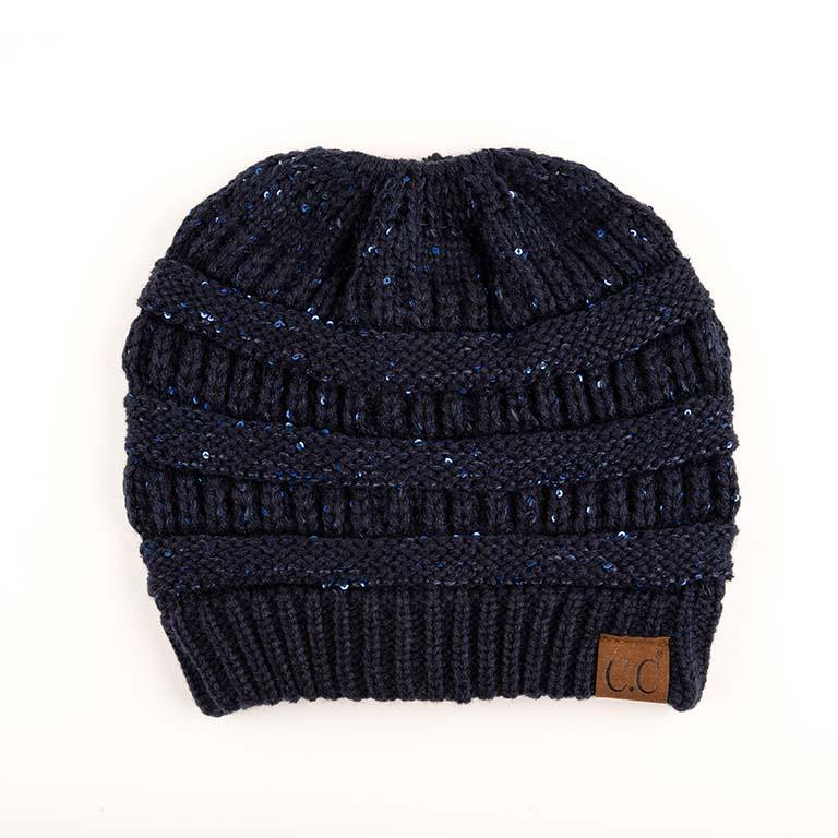 Sequin CC Tail Beanie- Navy