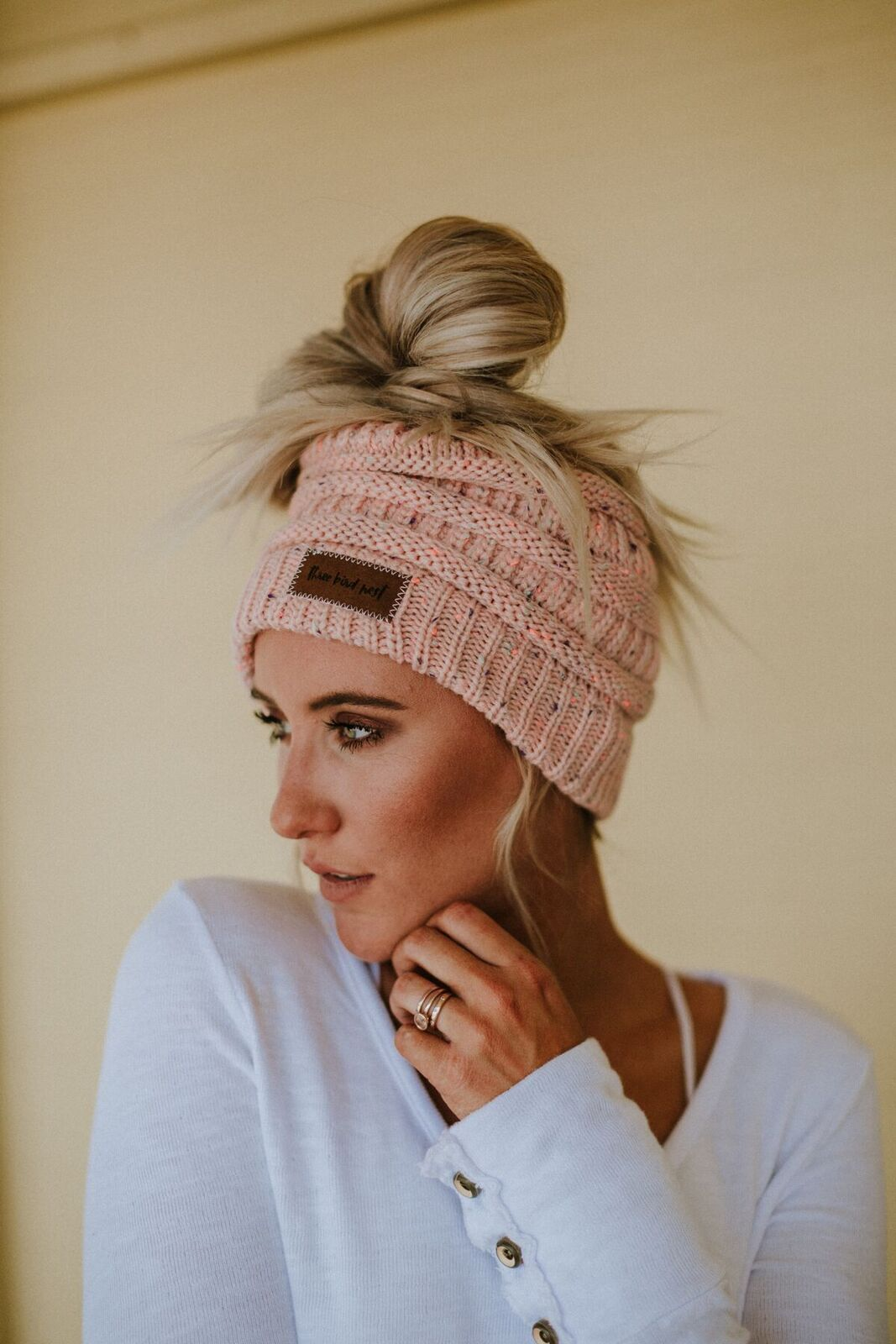 Messy Bun Knitted Beanie- Dusty Pink
